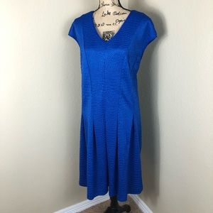 Gabby Skye Blue Textured Knit Fit Flair Dress 22W